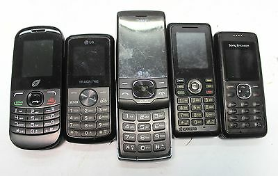 Lot Of 5 Old Cell Phones Brick+Batteries LG Sony AT&T UNTESTED FOR PARTS REPAIR