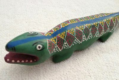 Vintage 70's Mexican Hand-Painted Wood Hand-Carved Lizard Iguana - FOLK ART