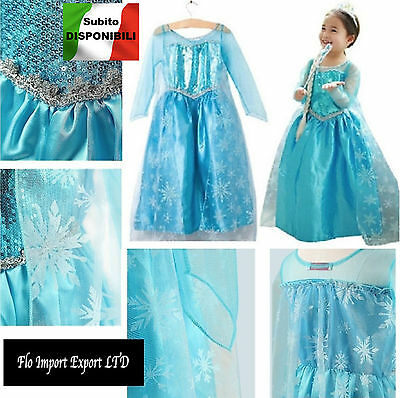 Frozen Vestito Carnevale Elsa 2-12 anni - Dress up Elsa Cosplay Costumes 789005