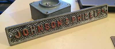 Vintage Aluminum Johnson & Phillips Industail Sign