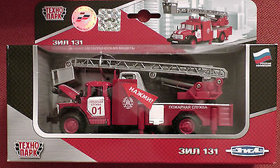 Truck ZIL 131 collectable model fire fighting vehicle with inertial mechanism