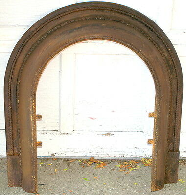 "Antique Victorian Rope Cast Iron Metal Fireplace Cover Surround Plate 32"" x 29"""