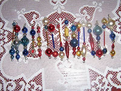 16-Piece Hand-Made Glass Garland Mercury Bead Icicle #04 Patriotic Ornaments!