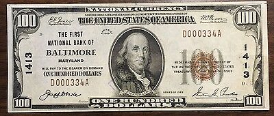 1929 $100 First National Bank of Baltimore Maryland Low Serial Number