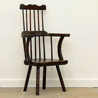 Late 18th Century West Country Comb Back Armchair. Antique Stick Back.