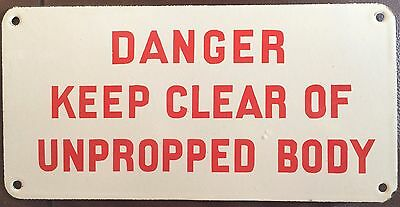 Vintage Danger Keep Clear Wagging Train Enamel Sign Railway Tipper