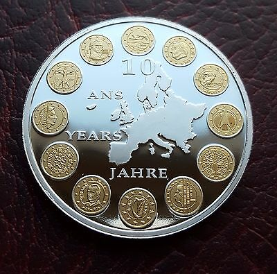 2008 10 Years of the Euro Commemorative proof 40mm medal Silver/Gold Plated FDC