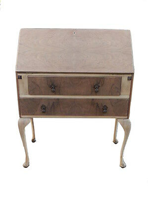 Reconditioned antique bare wood bureau cabinet with writing desk & two drawers