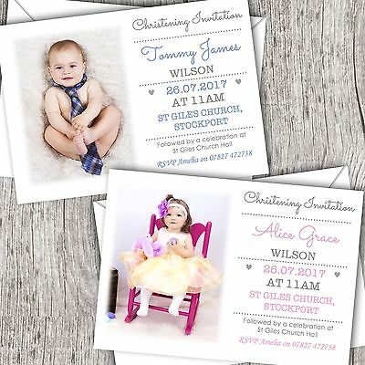 Personalised Photo Christening Invitations ~ Naming Day ~ Baptism ~ Girl/Boy (A)