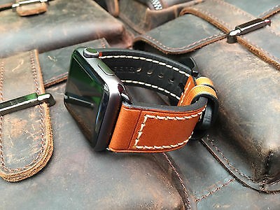 Quality Orange Leather Watch Strap Band For Apple Watch 42mm Series 1 2 Blk Fix