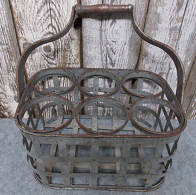 Rustic Industrial Look Galvanized Metal Wine Bottle Carrier Holder Tote Caddy
