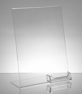 """100 Acrylic 8-1/2"""" x 11"""" Slanted Sign Holders with Attached Business Card Holder"""