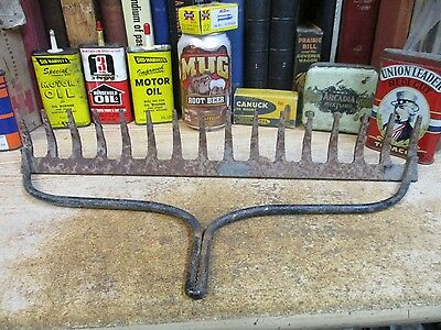 vintage rusty garden rake head yard no handle steam punk