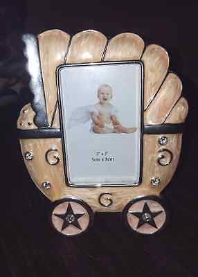 Baby Girl Picture Frame- Pink And Silver Carriage - 2x3' Photo- New