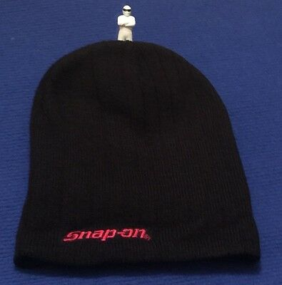 Snap On Beanie Hat Black with Red Logo one size fits all ideal Birthday Gift NEW