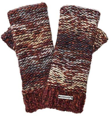 Screamer Women's Chellene Hand-knit Finger-less Gloves - Marsala/Oyster/Denim