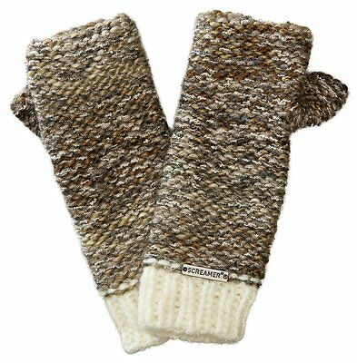 Screamer Women's Chellene Hand-knit Finger-less Gloves - White/Latte