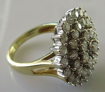 Secondhand 18Ct Yellow Gold Diamond 2.0Ct 3D Large Round Cluster Ring Size K.