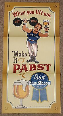 Vintage 1960's - 1970's Pabst Blue Ribbon Beer Poster, New Old Stock