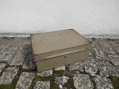 Vintage Silver Chubb Metal Lock Box Deed Box Trunk Chest Made in England No Key