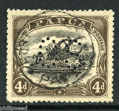 Papua 1908 Official 4d p12.5 fine used SG O12 Port Moresby postmark [M198