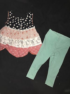 baby girl top and leggings outfit set size 1 - 1 1/2