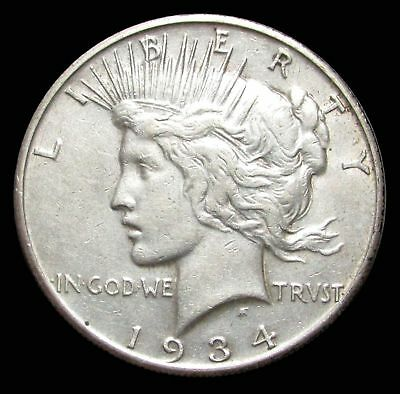 1934 S United States Peace Silver $1 Dollar Coin About Unc. Condition