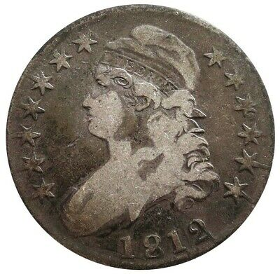 1812 Silver Us Capped Bust Half Dollar Coin Fine Condition Overton 106