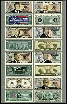 8 Note Bill Set Donald Trump 2016-2017 President Million Dollar Novelty Bill