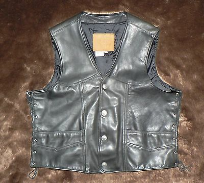 Pre-Owned Men's KERR LEATHER Black Motorcycle Leather Vest size 2XL