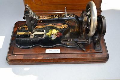 Victorian 1884  Bradbury Sewing machine letter S ? boxed no 88494 turning over