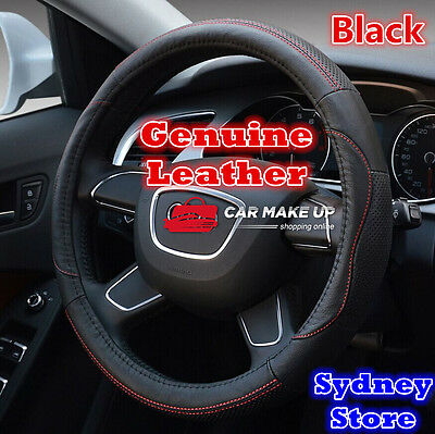 Best Black Luxury Genuine Leather Breathable Auto Car Steering Wheel Cover 38cm