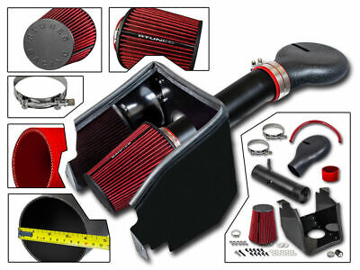 Cold Heat Shield Air Intake MATT  BLACK + RED for 94-02 Ram 2500 Pickup 5.9L V8