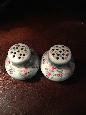 Antique Porcelain Salt & Pepper Shakers Hand Painted Flowers With Gold Trim