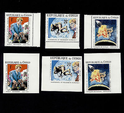 OPC 1970 Congo Rep. Kennedys Apollo Unlisted Set Perf & Imperf MNH