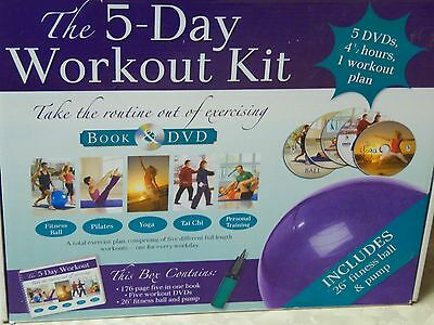 The 5 Day Workout Kit , Book, Fitness Ball, DVDs Yoga & Exercise Plan