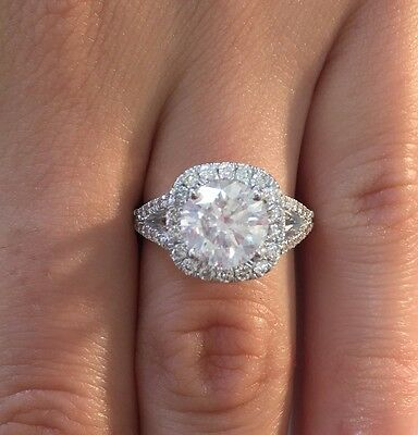 4.00 Ct Round Cut D/si1 Halo Diamond Solitaire Engagement Ring 14K White Gold
