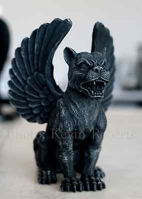 Gothic Winged Lioness Gargoyle Roaring Statue Figurine Wow Faux Stone Medieval