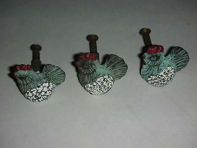3 Vintage Painted Cast Rooster Drawer Pulls/Knobs 1 1/4""