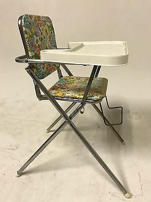 VINTAGE HIGH CHAIR CARTOON CHROME CHILDRENS FURNITURE TOY TRAY BOOSTER SEAT 60s