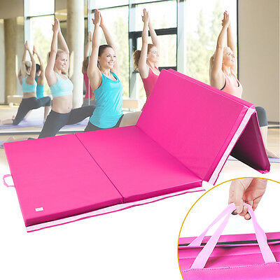 8FT Four Folding Soft Gymnastics Mats Thick Exercise Gym Fitness Physio Pilates