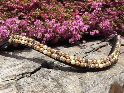Gold Pearl Crystal Browband  Dressage Browband Show Browband Sizes Full Cob Pony