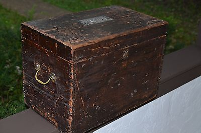 antique wood traveling trunk dovetailed joints JP Paulson Denver Colorado tray