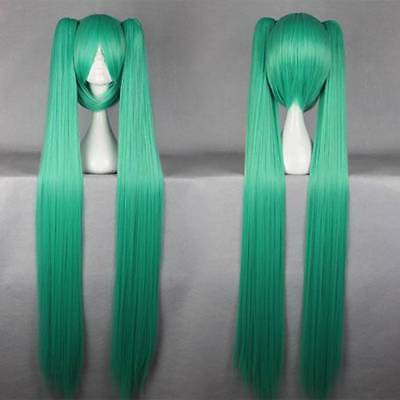 [wamami]Adult Anime Long Straight Pigtail 100cm VOCALOID MIKU Cosplay Wig