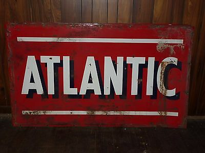 "Large 42"" x 72"" Vintage Metal Double Sided Atlantic Oil Gas Sign - I"
