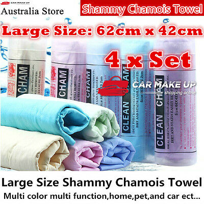 4x Best Large size shammy chamois towel Pvs for Auto car home office pet garden