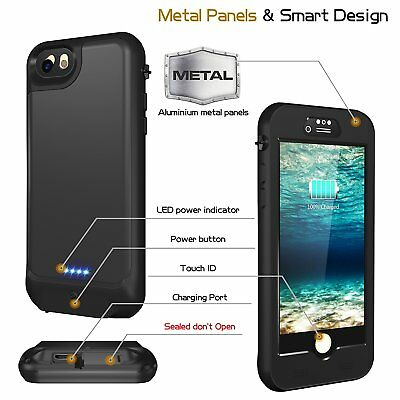 Waterproof Shockproof External Power Battery Charger Cover Case for iPhone 6 6S+