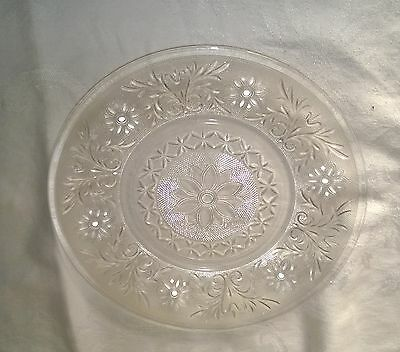 "Mid-Century Sandwich Crystal Pattern 9"" Dinner Plate Anchor Hocking"