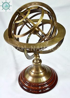 Antique Astrolabe Brass Sphere Armillary Collectible Nautical Decor Wooden base