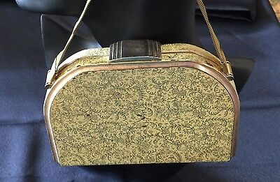 Yellow and Gold Metal Printed Evening Bag, 1940's - 1950, Vintage